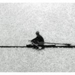 Abstract photo of rower on the Charles River (printed on rice paper)